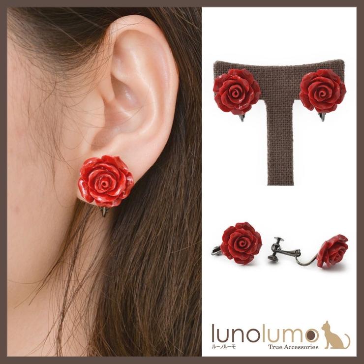 クラシカルレッド 薔薇モチーフのデザインイヤリング 日本製 R | lunolumo | 詳細画像1