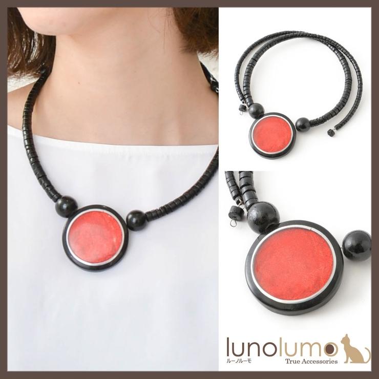 天然素材 ブラックレッドのサークルチョーカーネックレス N   lunolumo   詳細画像1
