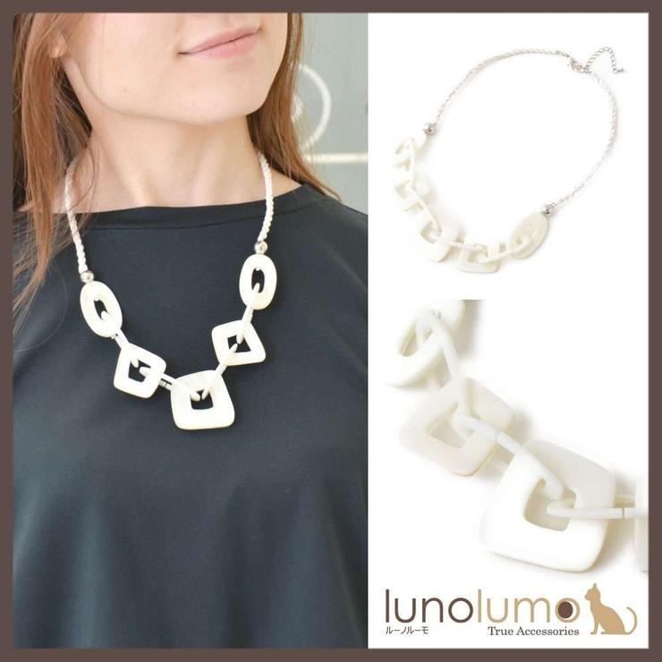 天然素材 チェーン繋ぎのホワイトショートネックレス N | lunolumo | 詳細画像1