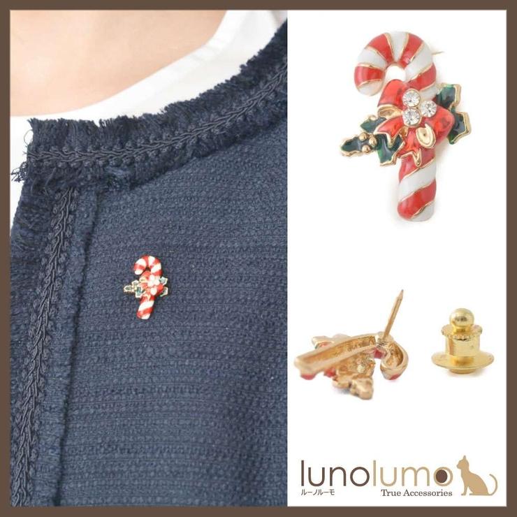 クリスマス キャンディケインモチーフのピンブローチ ラペルピン   lunolumo   詳細画像1