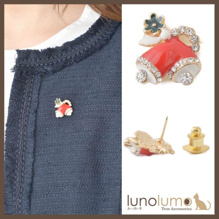 クリスマス ツインベルモチーフのピンブローチ ラペルピン   lunolumo   詳細画像1