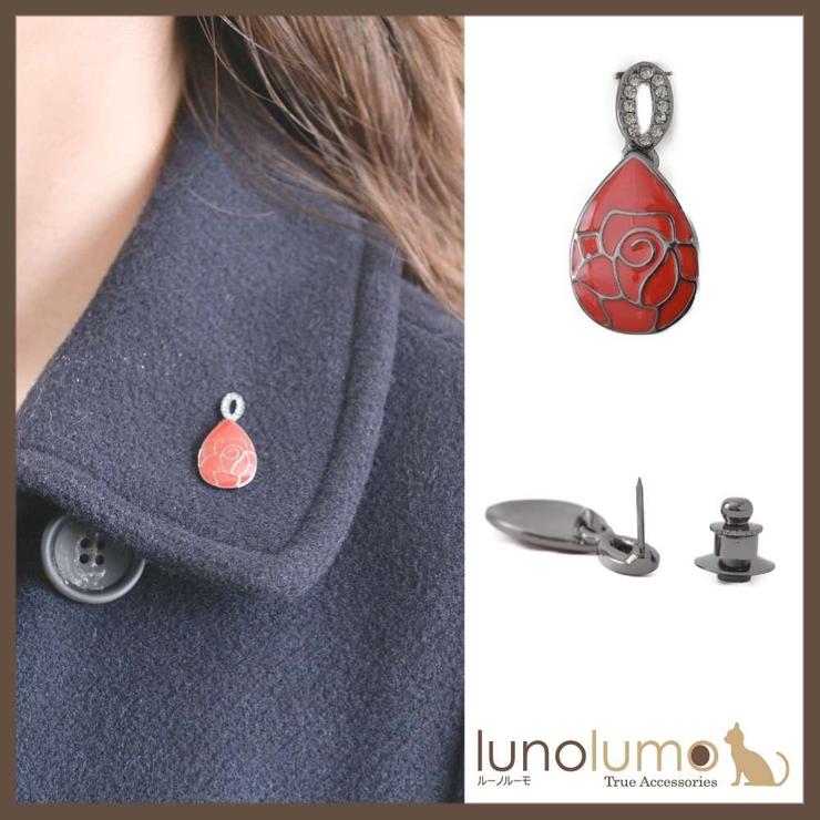 クラシカルレッド 雫デザインのレッドローズピンブローチ ラペルピン R | lunolumo | 詳細画像1