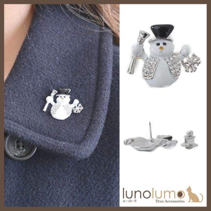 クリスマス 帽子をかぶったスノーマンのピンブローチ ラペルピン | lunolumo | 詳細画像1