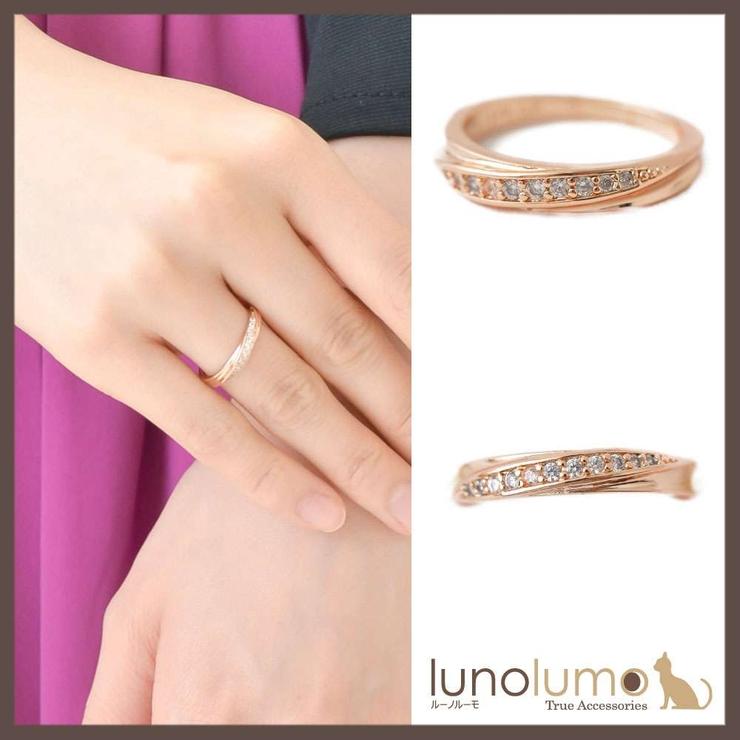 流線デザインのピンクゴールドリング 指輪 N   lunolumo   詳細画像1