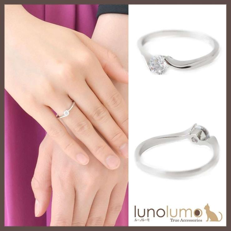 シルバーカラーの1粒デザインリング 指輪 N | lunolumo | 詳細画像1
