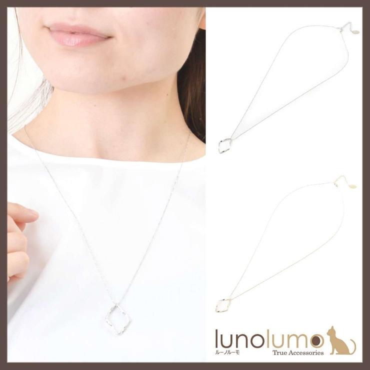 ひし形メタルのロングペンダントネックレス   lunolumo   詳細画像1
