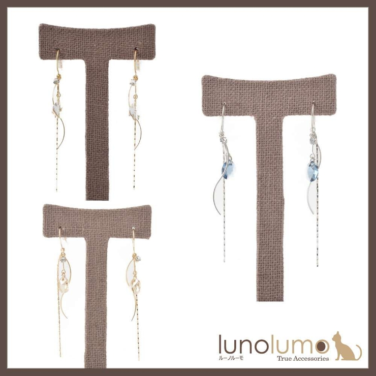 カーブメタルとストーンのデザインピアス | lunolumo | 詳細画像1