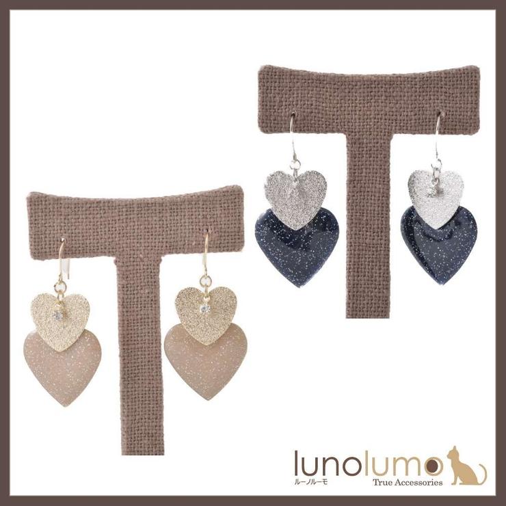ダブルハートのガーリーピアス | lunolumo | 詳細画像1
