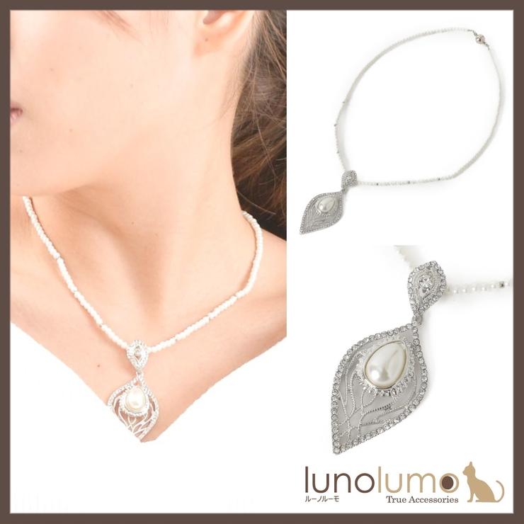 パールとリーフメタルのペンダントネックレス P | lunolumo | 詳細画像1