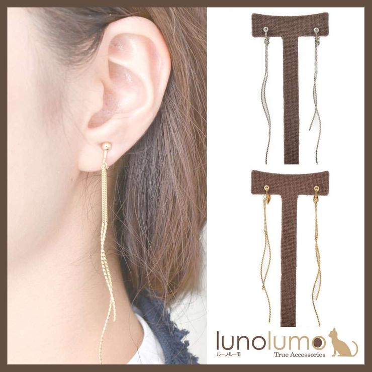ロングカーブメタルのコンビイヤリング | lunolumo | 詳細画像1