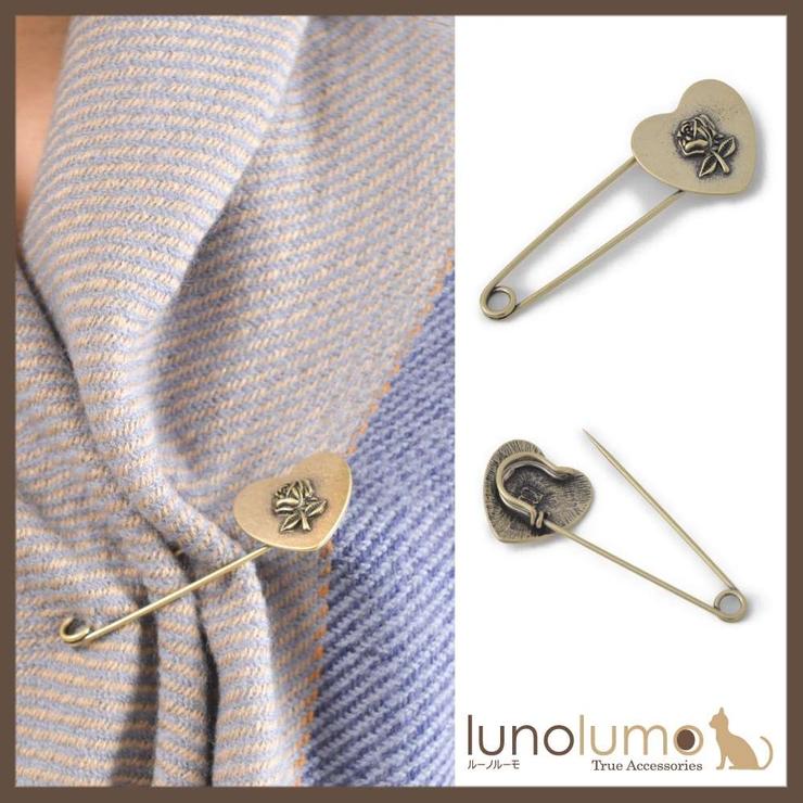 アンティークハートと薔薇の安全ピン型ブローチ   lunolumo   詳細画像1