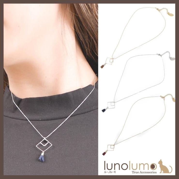 タッセルとひし形メタルのショートネックレス N | lunolumo | 詳細画像1