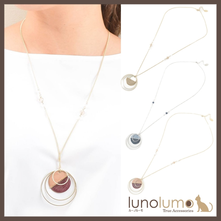 バイカラーの多連サークルペンダントネックレス N | lunolumo | 詳細画像1