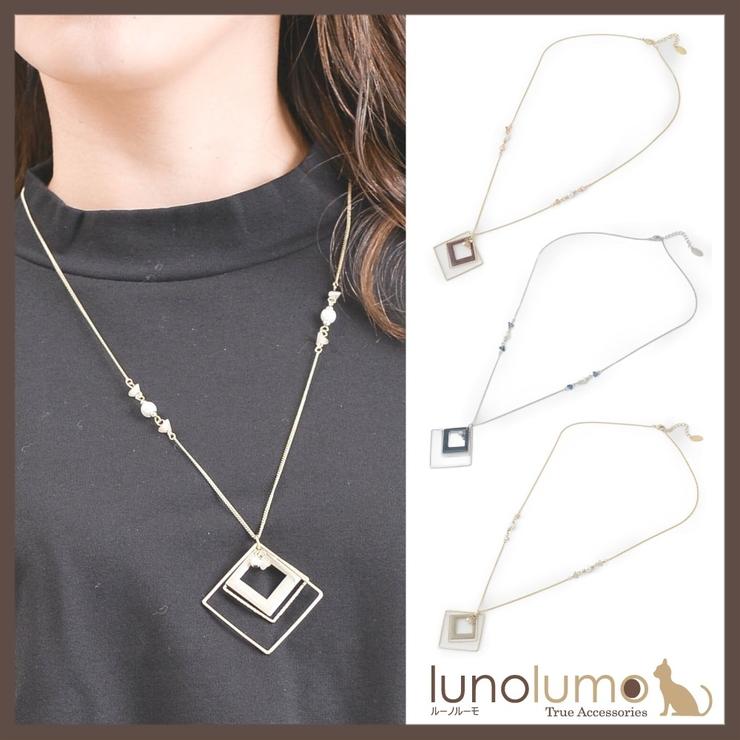 ひし形デザインのカラーペンダントネックレス N | lunolumo | 詳細画像1