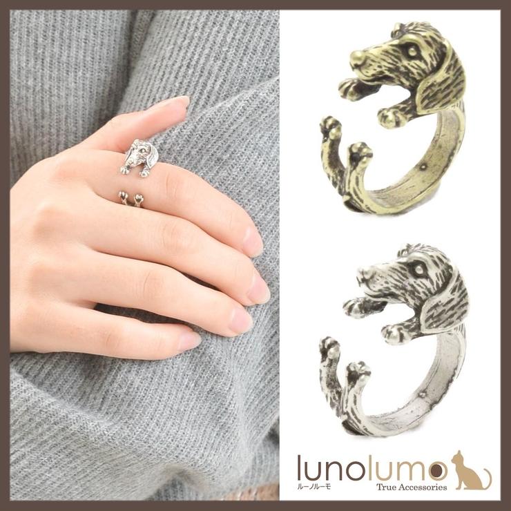 アンティークカラーのミニチュアダックスフント風リング 指輪 N   lunolumo   詳細画像1