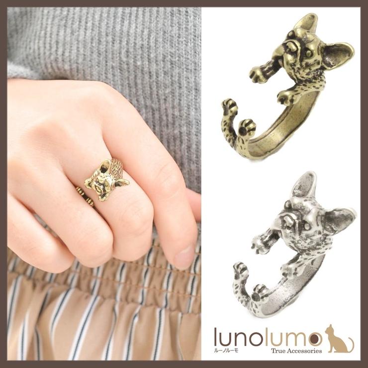 アンティークカラーのフレンチ ブルドッグ風リング 指輪 N | lunolumo | 詳細画像1