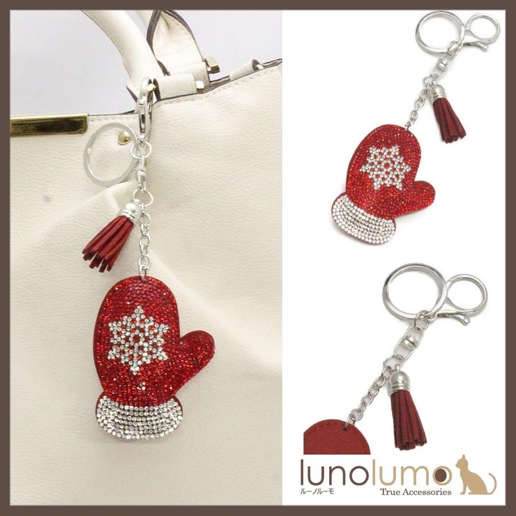 クリスマス 手袋モチーフのキラキラキーホルダー バッグチャーム チャーム N | lunolumo | 詳細画像1