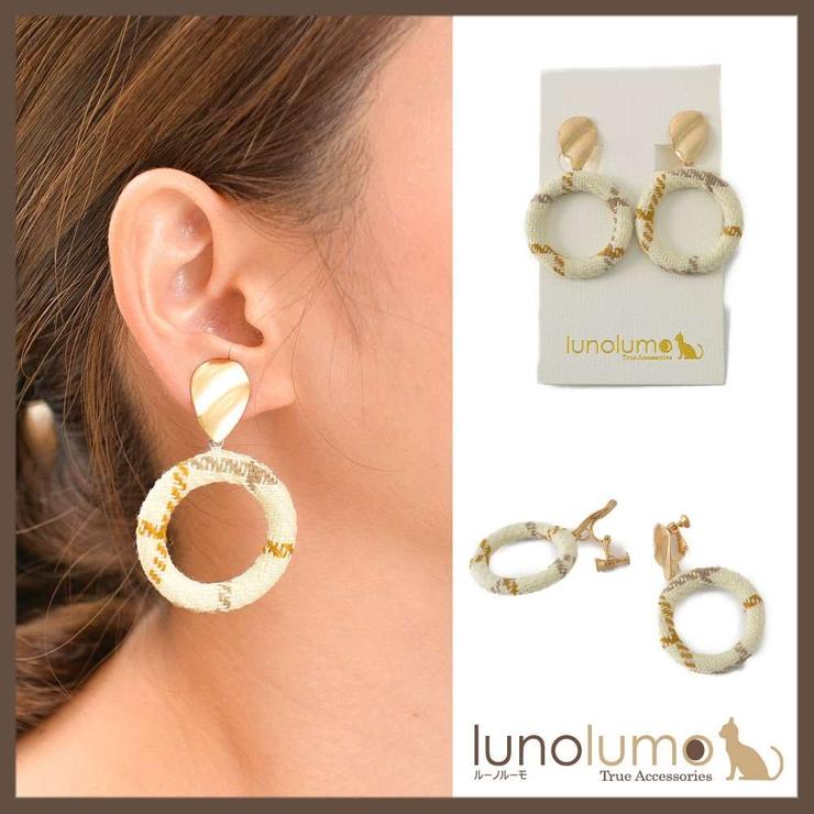 レトロチェック柄のサークルイヤリング | lunolumo | 詳細画像1