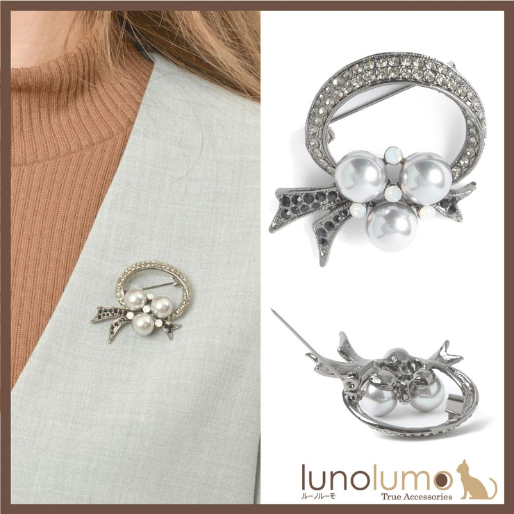 ブローチ パール グレー | lunolumo | 詳細画像1