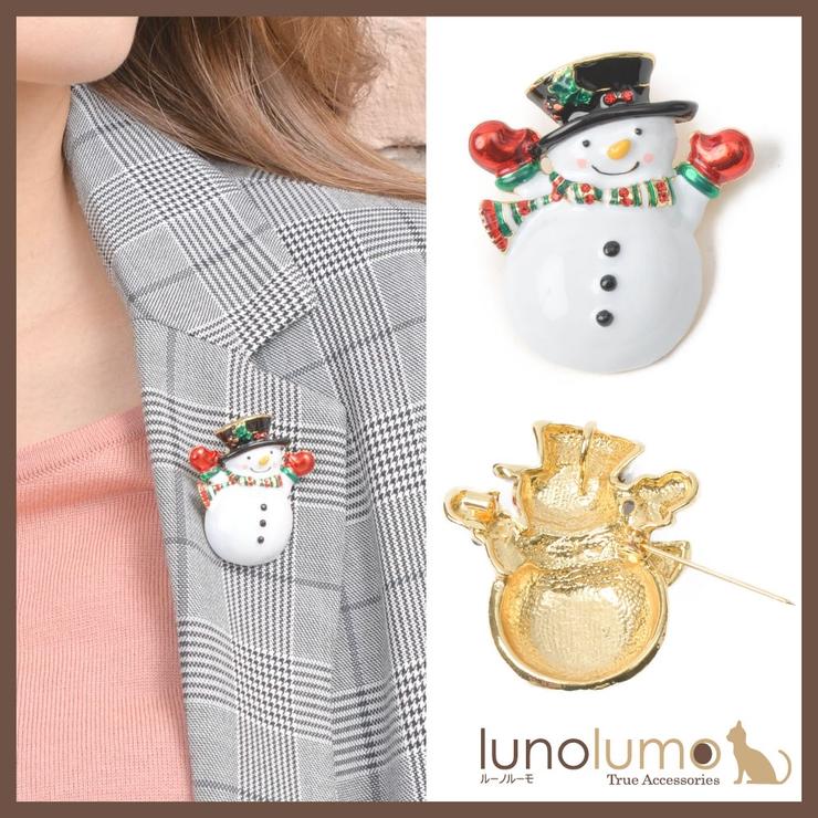 クリスマス ブローチ スノーマン   lunolumo   詳細画像1