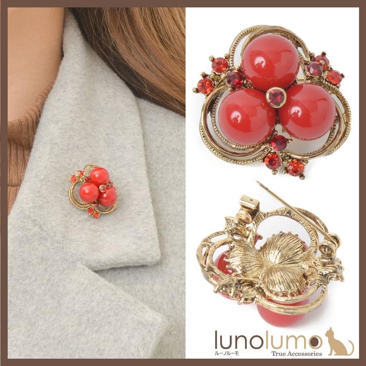 ブローチ レディース 赤 | lunolumo | 詳細画像1