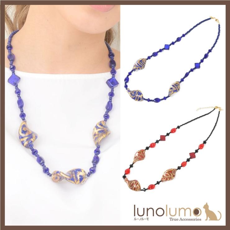 ベネチアングラスネックレス ベネチアンガラス オリエンタル柄 | lunolumo | 詳細画像1