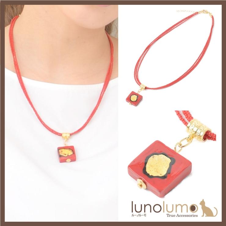 ベネチアングラスネックレス ベネチアンガラス 赤 | lunolumo | 詳細画像1