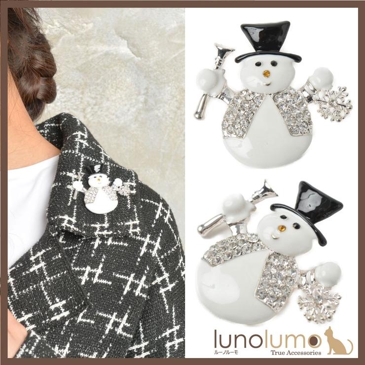 クリスマス ブローチ 雪だるま   lunolumo   詳細画像1