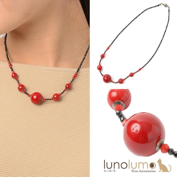 日本製 ネックレス 赤   lunolumo   詳細画像1