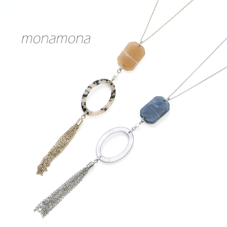 マーブルアクリルプレートロングチェーンネックレス   monamona   詳細画像1