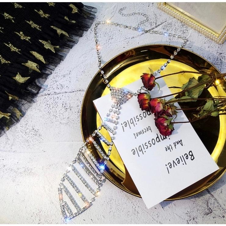 クリスタルネクタイネックレス 首飾り ビジュー | NAIDY | 詳細画像1