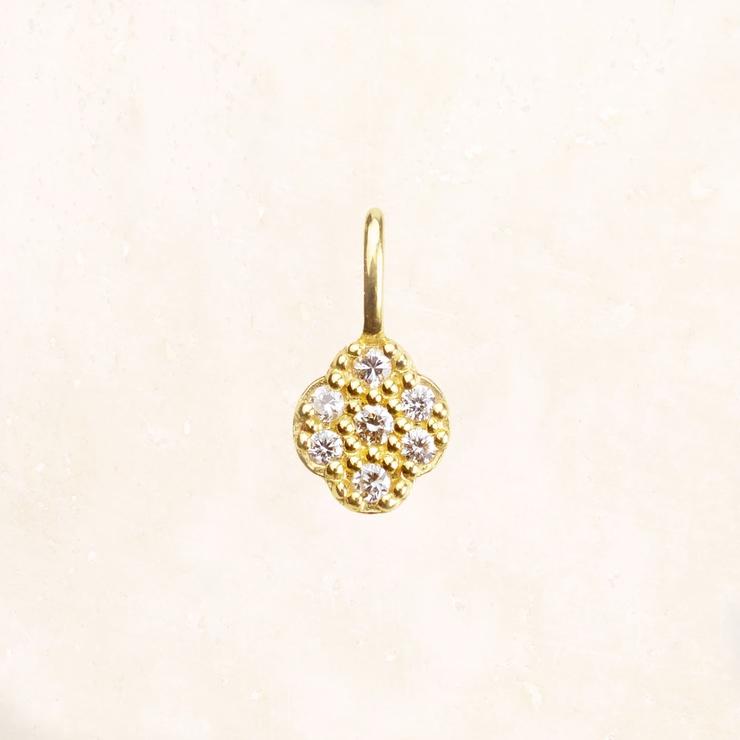 K18 YG オーバルフラワーダイヤモンドチャーム | NATURALI JEWELRY | 詳細画像1