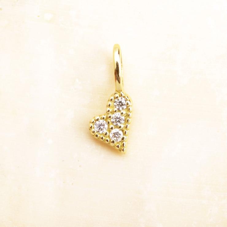 K18 YG ハート メレダイヤモンドチャーム   NATURALI JEWELRY   詳細画像1