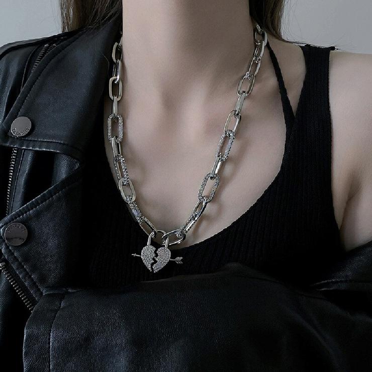 ハート型ネックレス 太め チェーンネックレス | another me | 詳細画像1
