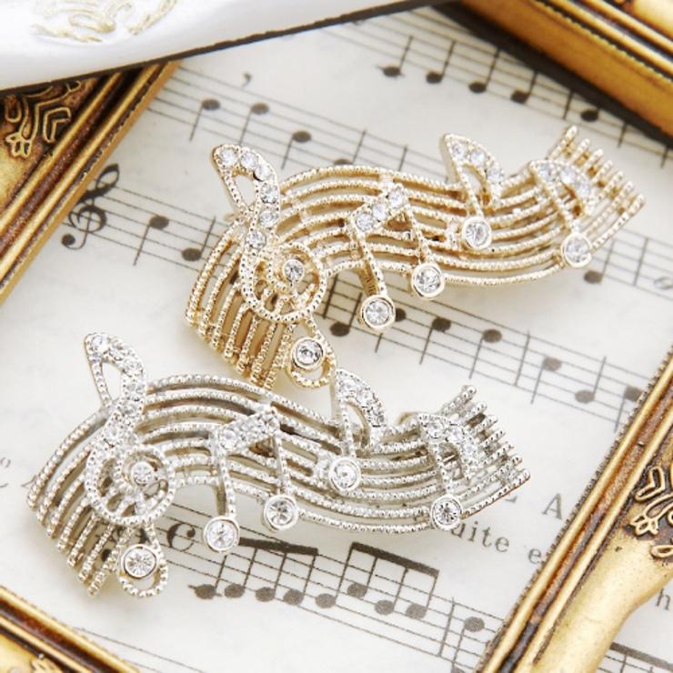 ラインストーンが輝くピンブローチ 音符がたくさん楽譜モチーフ 日本製   アクセサリーショップPIENA   詳細画像1