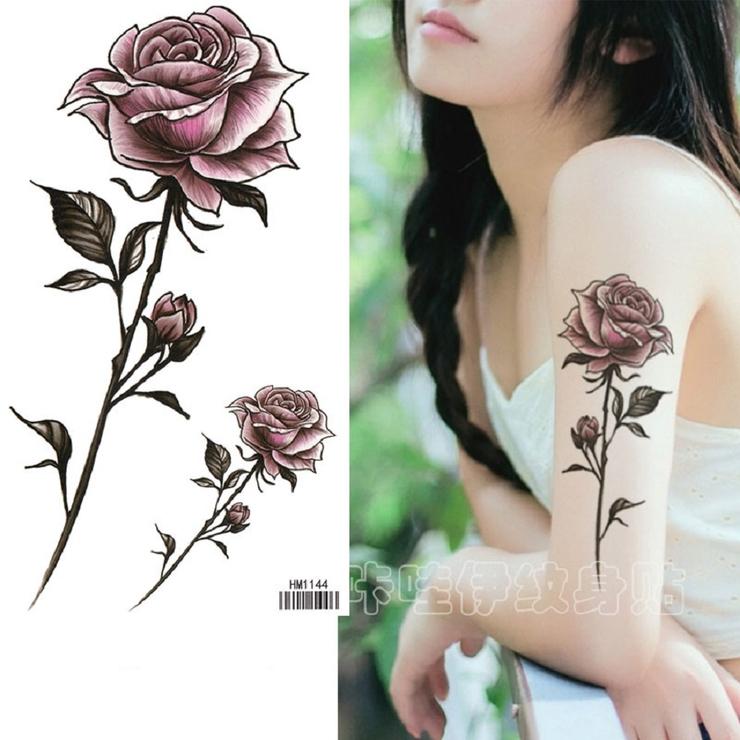 タトゥーシール 渋い紫セクシー薔薇 パープルローズ   Pinky&Refine   詳細画像1