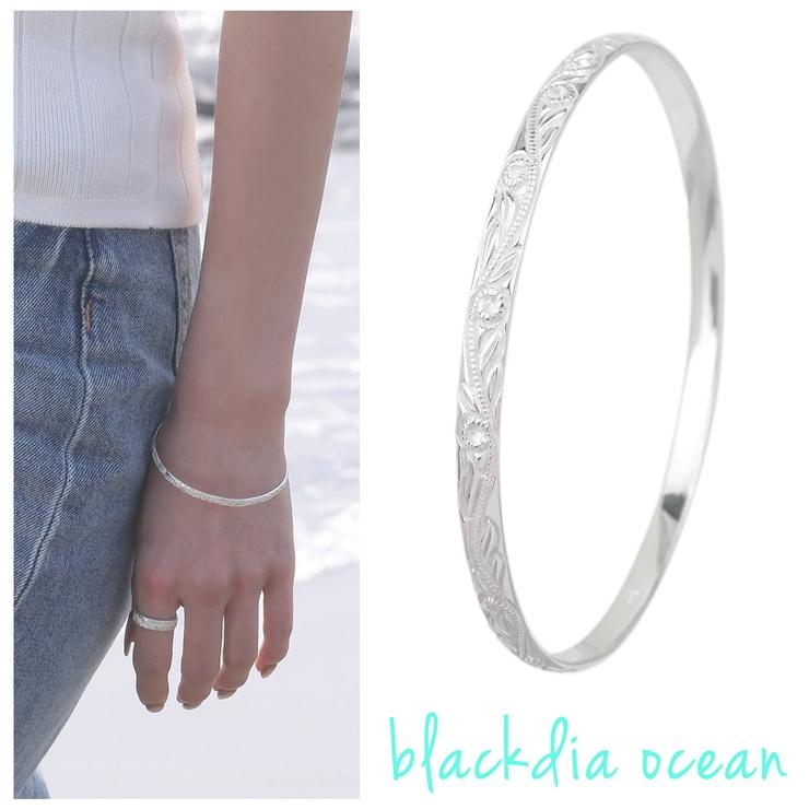 プルメリア スクロール バングル blackdia ocean   SBG WOMEN   詳細画像1
