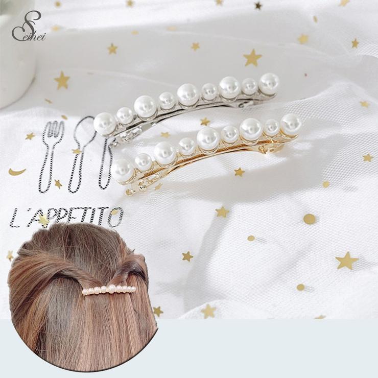 リッチパールヘアピン ヘアアクセサリー 編み込み バレッタ 髪飾り ビジュー   seiheishop   詳細画像1