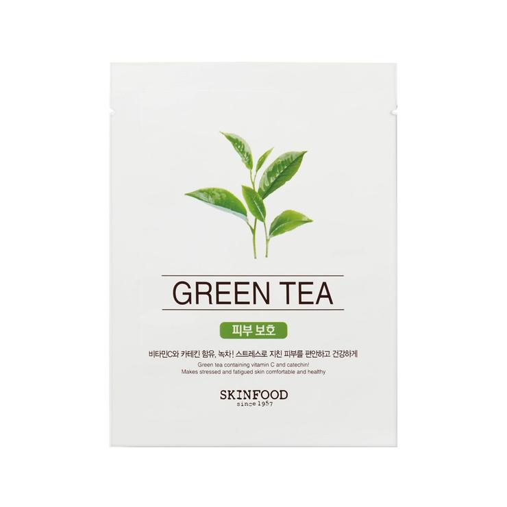 スキンフードフェイスマスクフェイスパックグリーンティー緑茶ビューティーインアフードマスクシートグリーンティーSKINFOOD3000円以上   詳細画像