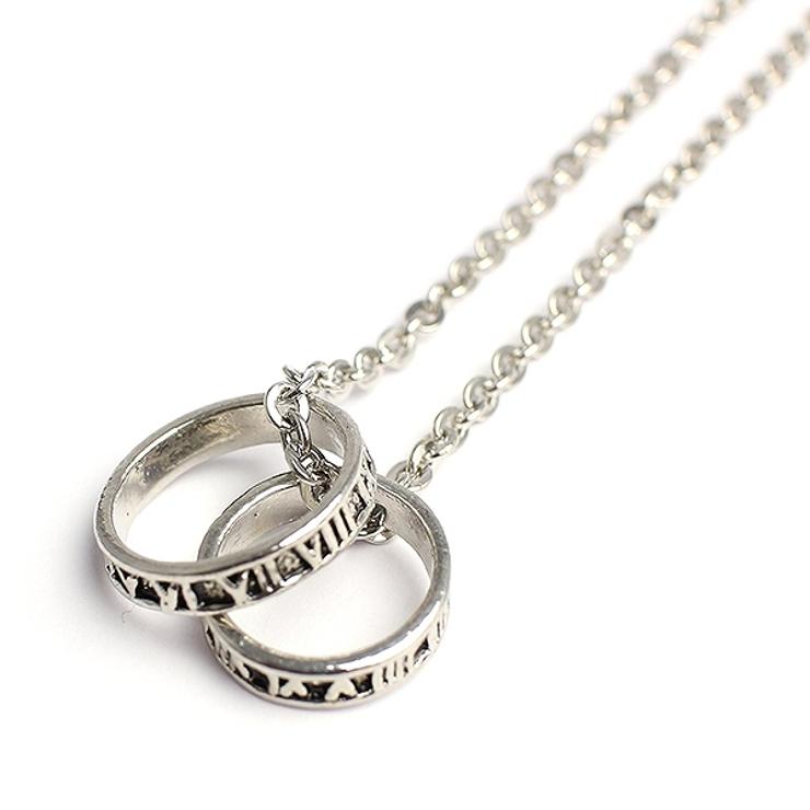 ローマ数字のシルバー風ダブルリングネックレス いぶし加工風ローマリング   腕時計アパレル雑貨小物のSP   詳細画像1