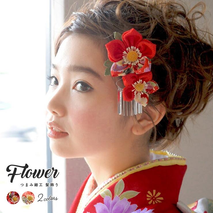 成人式におすすめなつまみ細工髪飾り(モデル:早川まいちゃん)   詳細画像