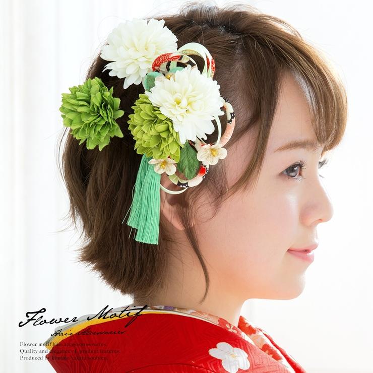 成人式や卒業式に!花の髪飾り3点セット   詳細画像