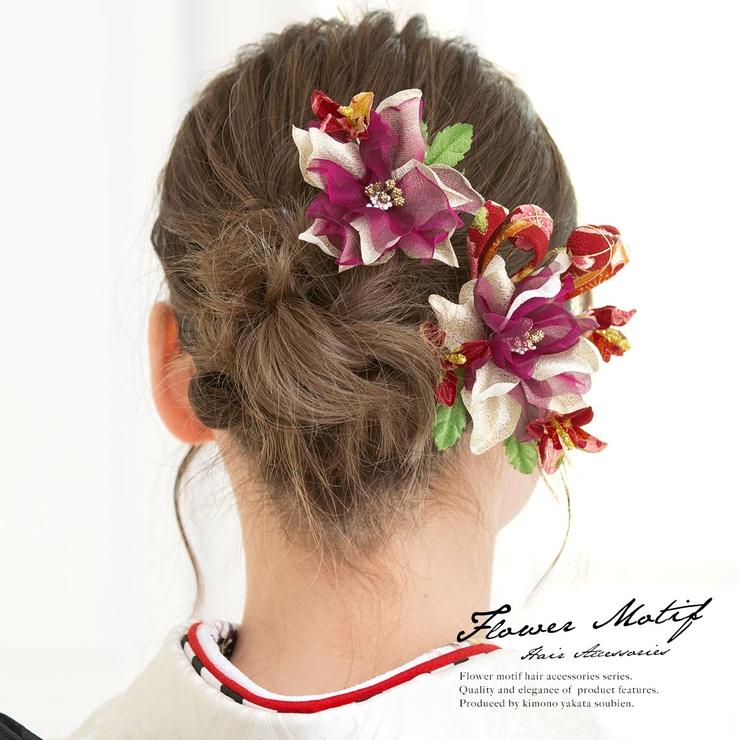 成人式や卒業式に!花の髪飾り2点セット | 詳細画像