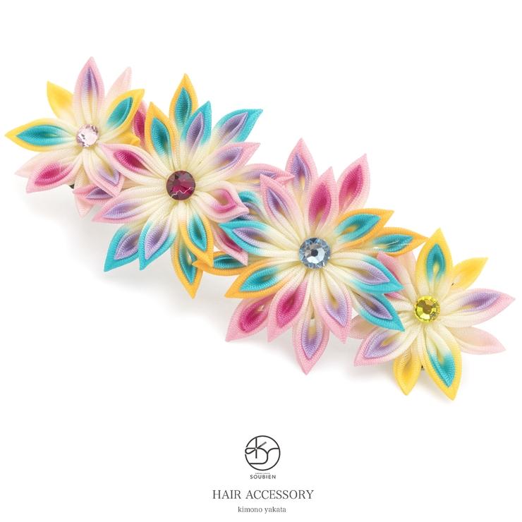 カジュアルにオススメなつまみ細工の花の髪飾り | 詳細画像