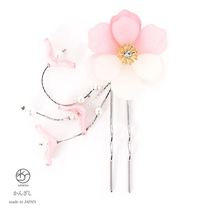 上品な華やかさのある立体的な桜簪(かんざし) | 詳細画像