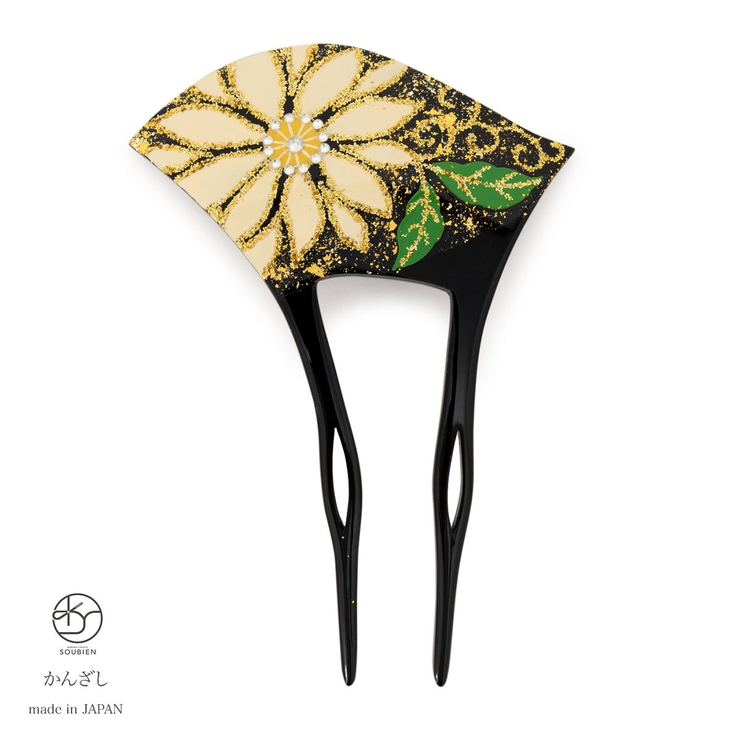 訪問着やフォーマルな着物に☆金箔調の日本製バチ型簪(かんざし) | 詳細画像