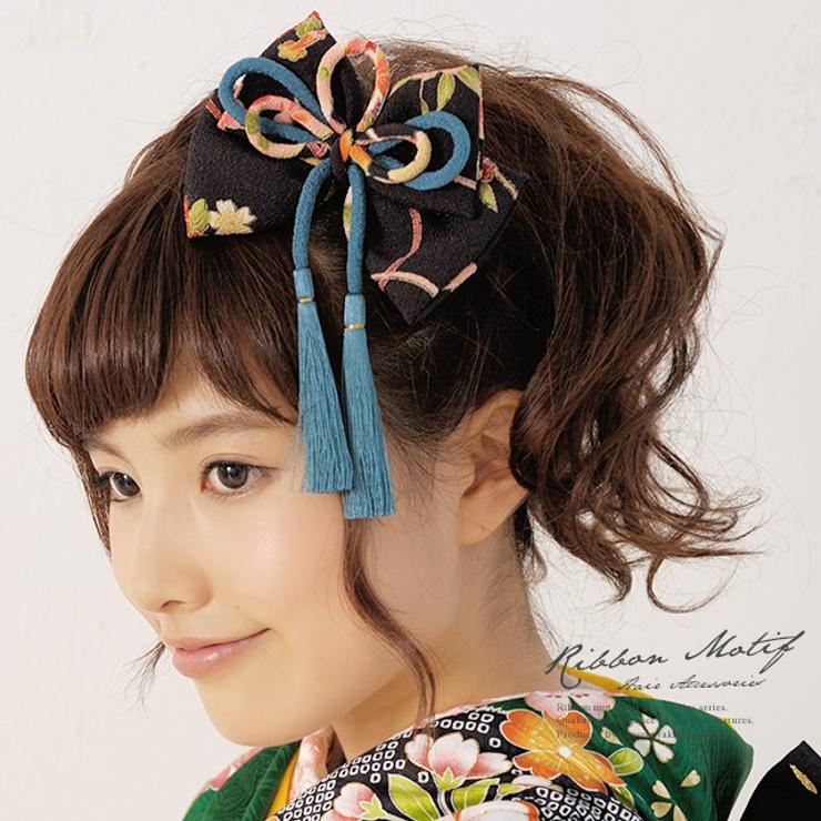 和柄ちりめんのリボン髪飾り | 詳細画像