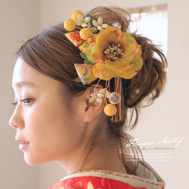 袴,成人式,振袖,着物,髪飾り,金茶,和柄,組紐,お花 | 詳細画像