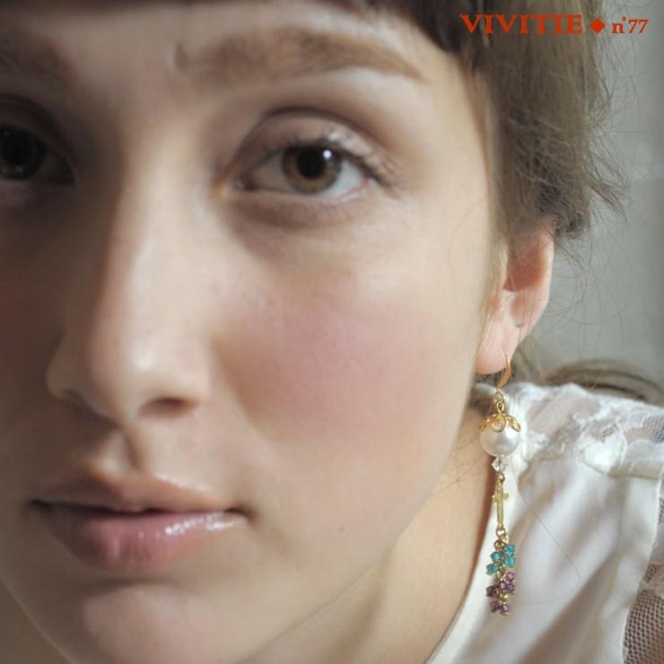 YUNIの手がける手作りアクセ「Vivitie」Raisinピアス   詳細画像