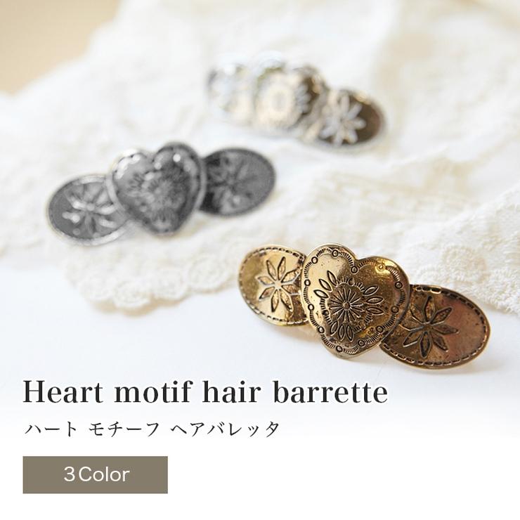 【clarissa】ハートモチーフの3連バレッタ   詳細画像